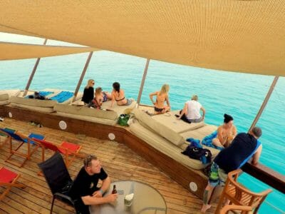 Day beds on Cloud 9 half day tour in Fiji with wood fired pizza lunch.