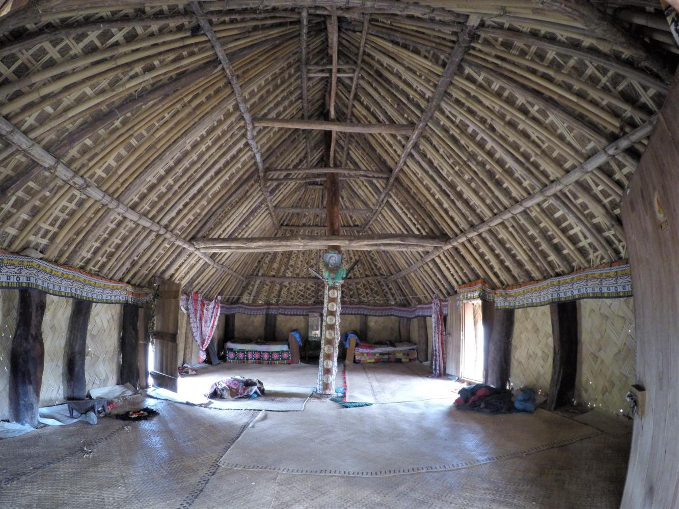 Inside an old bure in Navala Village on a private guided tour in Fiji