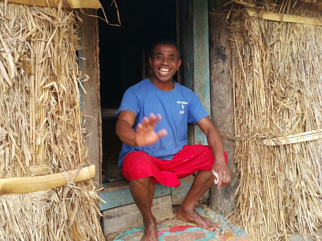 Local Fijian in Navala Village on a private guided tour in Fiji