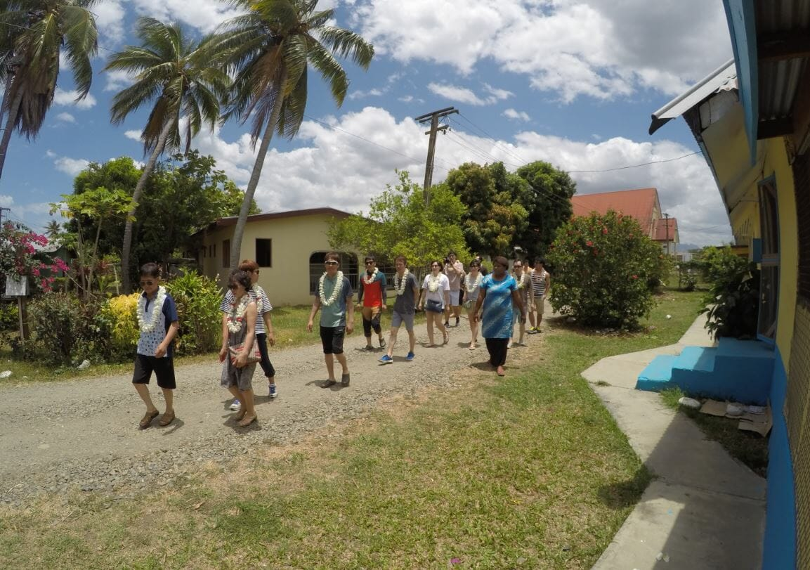 On tour through a coastal Fijian village at Vuda in Fiji