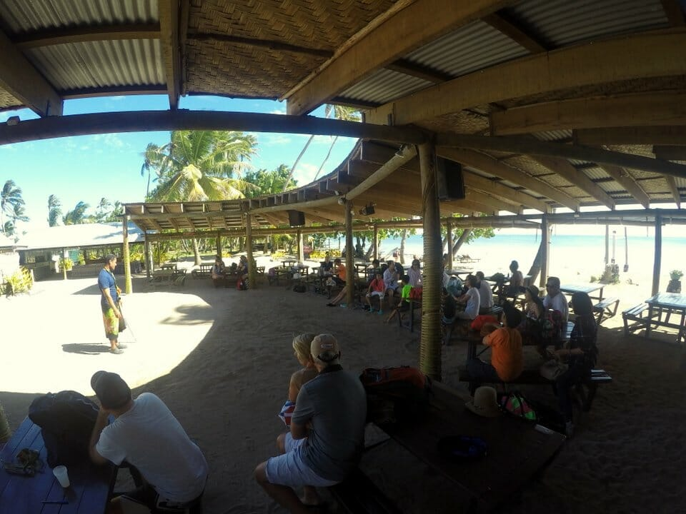 On the beach at Robinson Crusoe Island for lovo dinner and Fijian Dance Show