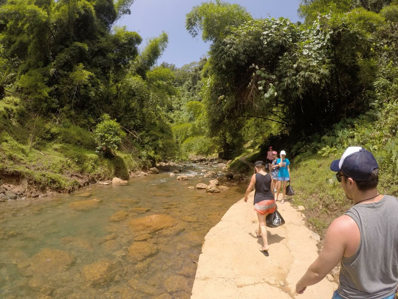 Walk to the biggest waterfall on the Navua River on Jewel of Fiji Tour
