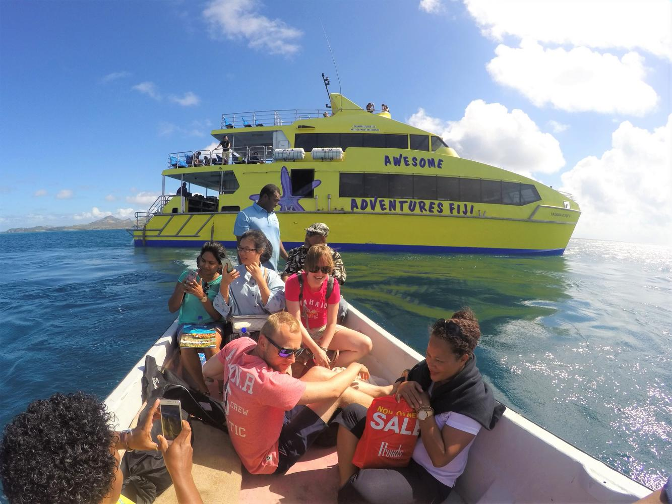 Yasawa Flyer on it's way to Barefoot Kuata for the snorkel with the sharks tour in Fiji