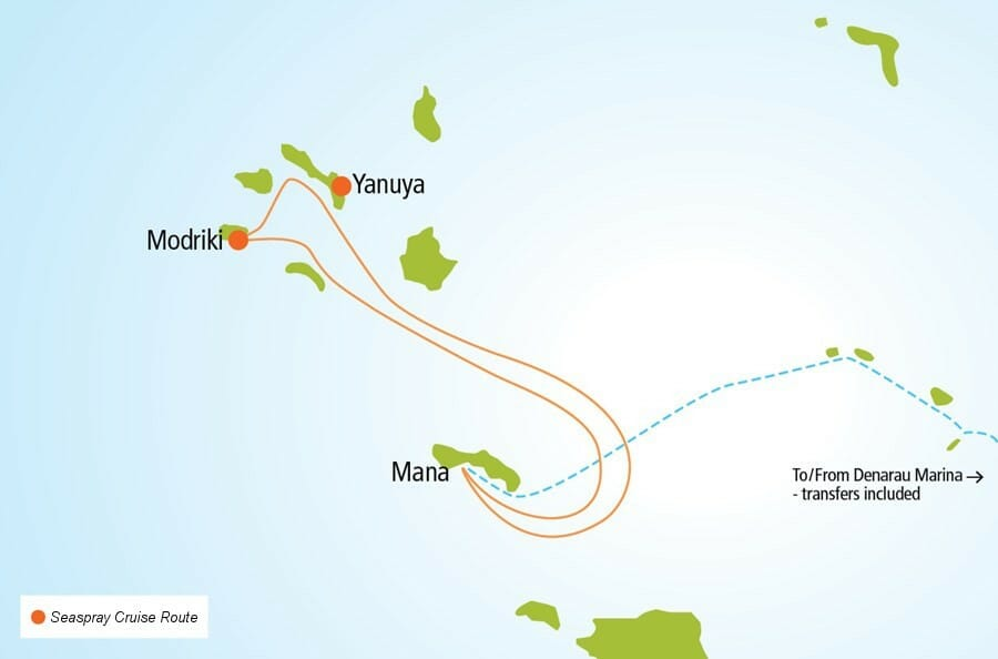 Cruise route on the Seaspray day sailing tour in Fiji